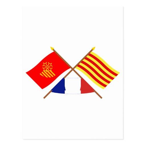 Banderas Languedoc-Rosellón y Pyrénées-Orientales Tarjeta Postal