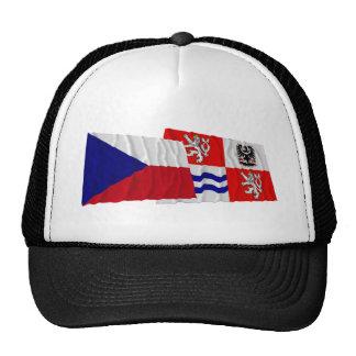 Banderas que agitan checas y centrales de Bohemia Gorro De Camionero