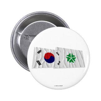 Banderas que agitan de Corea y de Daejeon Chapa Redonda 5 Cm