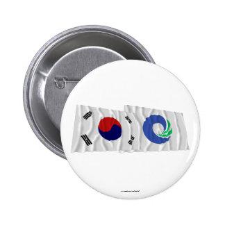 Banderas que agitan de Corea y de Inchon Chapa Redonda 5 Cm