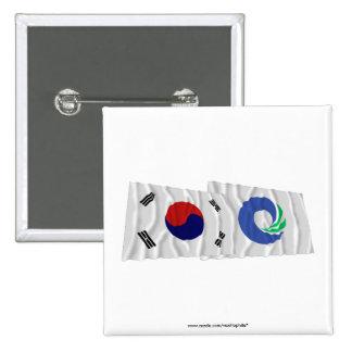 Banderas que agitan de Corea y de Inchon Pins