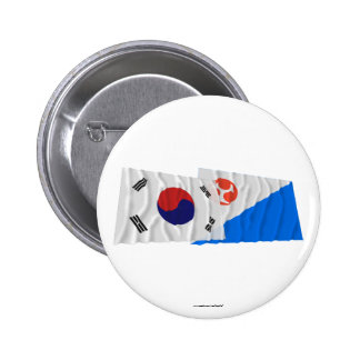 Banderas que agitan de Corea y de Jeju-Do Chapa Redonda 5 Cm