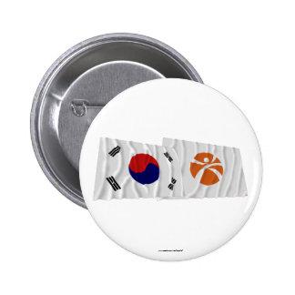 Banderas que agitan de Corea y de Kwangju Pin