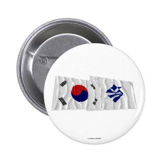 Banderas que agitan de Corea y de Pusan variante Pin
