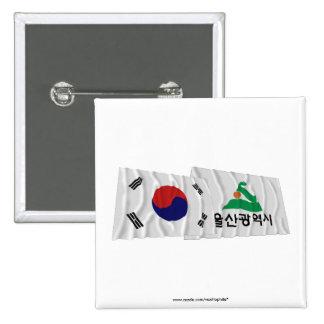 Banderas que agitan de Corea y de Ulsan Pin