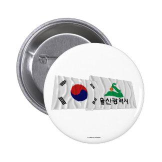 Banderas que agitan de Corea y de Ulsan Chapa Redonda 5 Cm