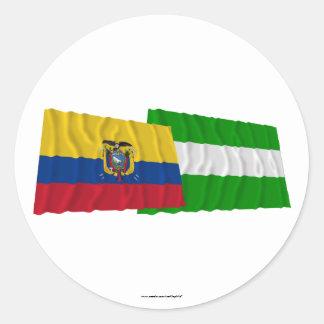 Banderas que agitan de Ecuador y del Los Ríos Etiquetas