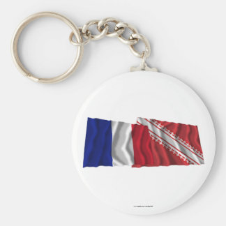 Banderas que agitan de Francia y de Bas-Rhin Llaveros Personalizados