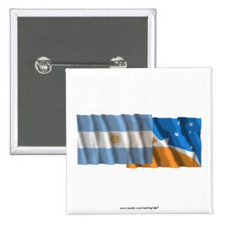 Banderas que agitan de la Argentina y de Tierra de Pins