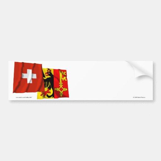 Banderas que agitan de Suiza y de Ginebra Pegatina De Parachoque