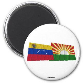 Banderas que agitan de Venezuela y de Lara Iman De Nevera