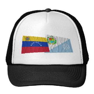 Banderas que agitan de Venezuela y de Sucre Gorros Bordados