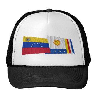 Banderas que agitan de Venezuela y de Vargas Gorros Bordados
