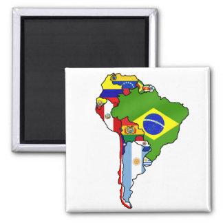 Banderas suramericanas del mapa de la bandera de S Iman De Nevera