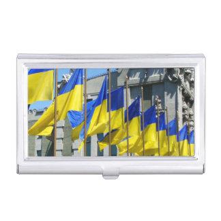 Banderas ucranianas cajas de tarjetas de presentación