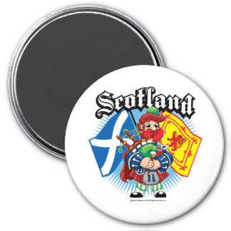 Banderas y gaitero de Escocia Imán De Nevera