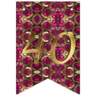 Banderines Aniversario de boda de rubíes del modelo 40.o de