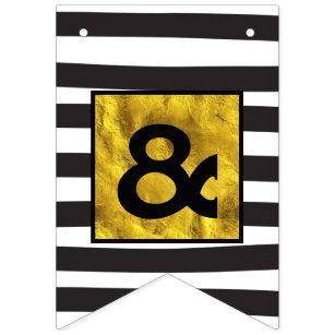 Banderines Boda de rayas orgánicas en negro y oro