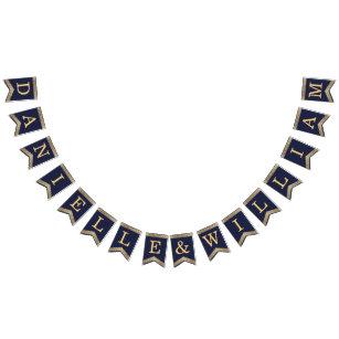 Banderines Boda Navy Blue Gold nombra a Rosas Vintage elegant