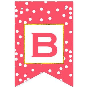 Banderines Boda rosada y blanca personalizada del accesorio