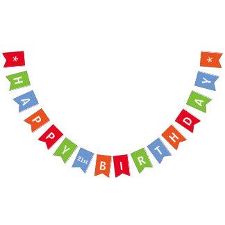 Banderines Colorido del feliz cumpleaños personalizado