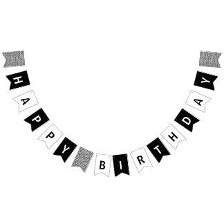 Banderines Feliz cumpleaños blanco y negro