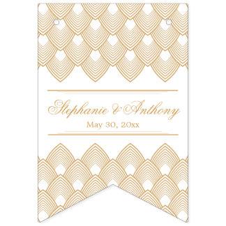 Banderines Oro y boda blanco del modelo del art déco