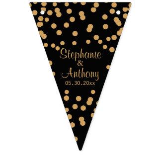Banderines Oro y boda negro del confeti