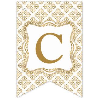 Banderines Oro y marco adornado elegante blanco