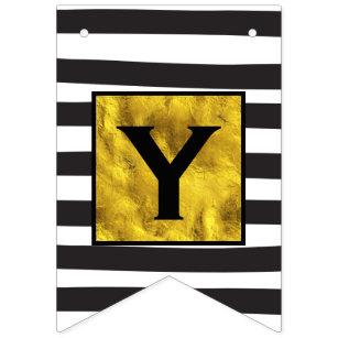 Banderines Personaliza tu texto aquí dorado con franja negra