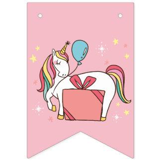 Banderines Unicornio lindo del arco iris con el regalo y el