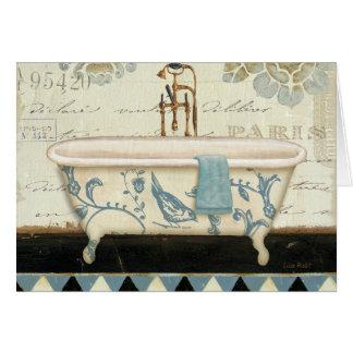 Bañera del francés del vintage tarjeta de felicitación