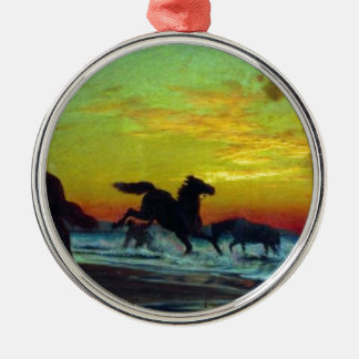Baño de caballos de Volodymyr Orlovsky Adorno Redondo Plateado