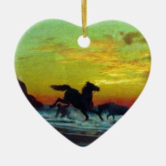 Baño de caballos de Volodymyr Orlovsky Adorno De Cerámica En Forma De Corazón