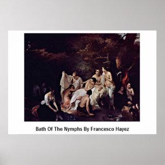 Baño de las ninfas de Francesco Hayez Póster