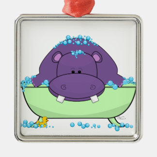 Baño del hipopótamo púrpura adorno cuadrado plateado