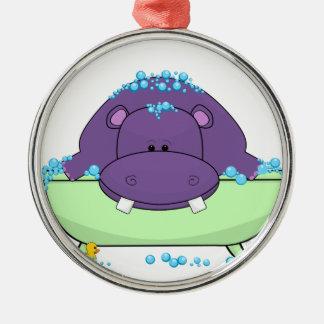 Baño del hipopótamo púrpura adorno redondo plateado