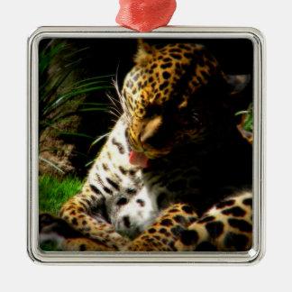 Baño del leopardo adorno cuadrado plateado
