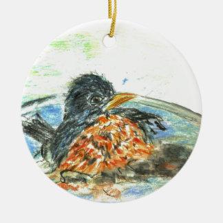 Baño del pájaro del petirrojo adorno redondo de cerámica
