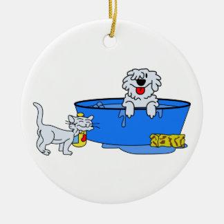 Baño del perro adorno redondo de cerámica