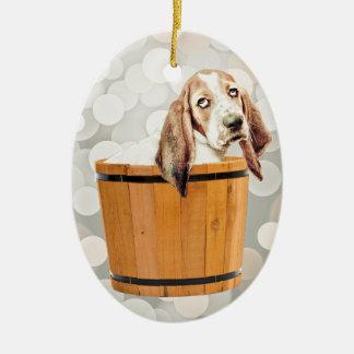 Baño del perro de Basset Hound Ornamento Para Reyes Magos