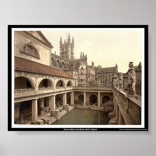 Baños Romanos Inglaterra:Baños y abadía romanos, baño, Inglaterra Póster