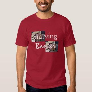 Banquero muerto de hambre en marrón camisetas