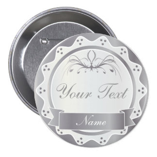 Banquete de boda blanco y de plata personalizado chapa redonda de 7 cm