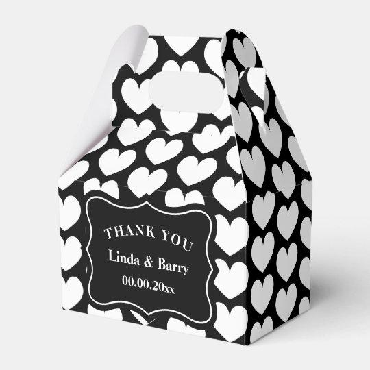 Banquete de boda blanco y negro del personalizado caja para regalos