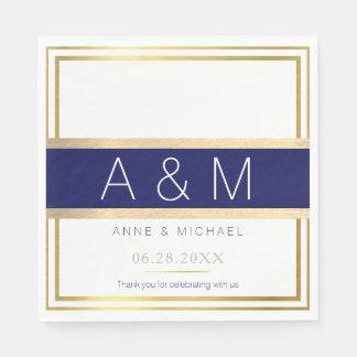 banquete de boda con monograma elegante/moderno servilletas de papel