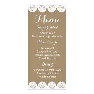 Banquete de boda de encaje de Brown del menú