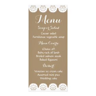 Banquete de boda de encaje de Brown del menú Lonas Personalizadas