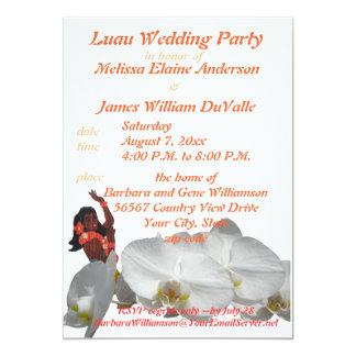 Banquete de boda de Luau para los pares Invitación 12,7 X 17,8 Cm