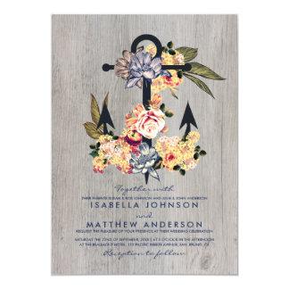 Banquete de boda elegante floral del ancla el | invitación 12,7 x 17,8 cm